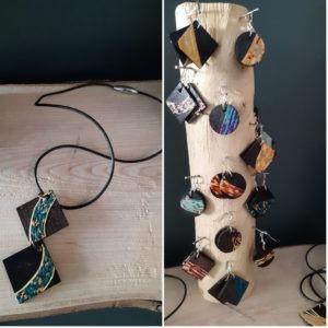Bijoux en marqueterie de paille
